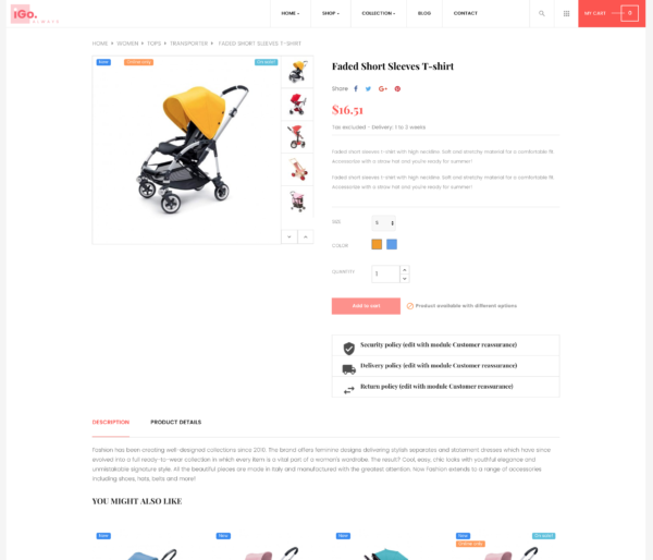 page produit thème 1 site e-commerce dropshipping