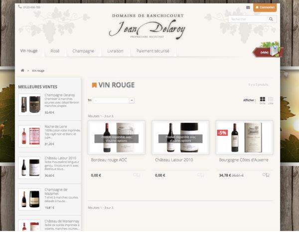 catégorie produit template vin et champagne dropshipping