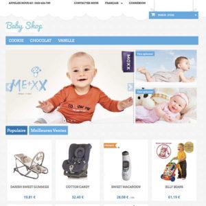 homepage de site pour bébé en e-commerce sans avoir de stock