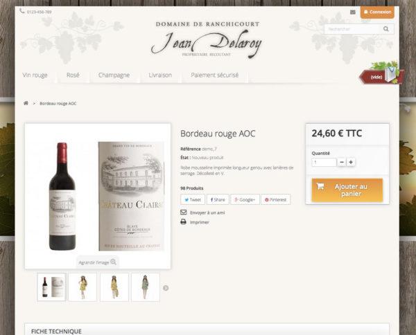 page produit vin pour vendre en dropshipping avec un site e-commerce