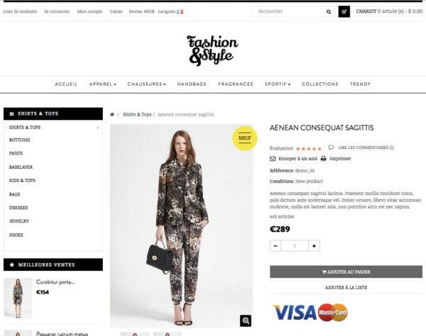 site e-commerce en dropshipping de prêt a porter avec des marques