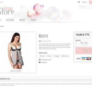 page produit site e-commerce sans stock en dropshipping lingerie sexy