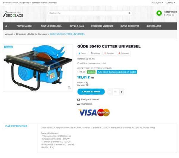 page produits bricolage et jardinage e-commerce dropshipping