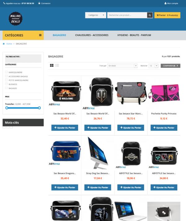 page categorie dropshipping généraliste fournisseur français