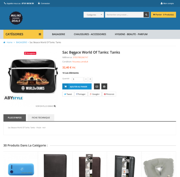 page produit dropshipping généraliste fournisseur français