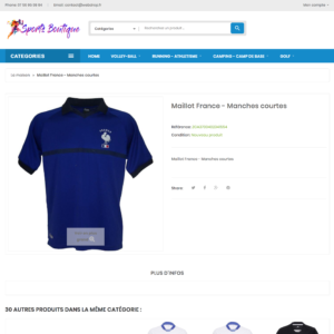 page produit dropshipping e-commerce sport multisport