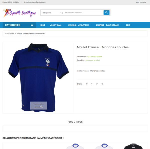 page produit dropshipping e-commerce sport multisport