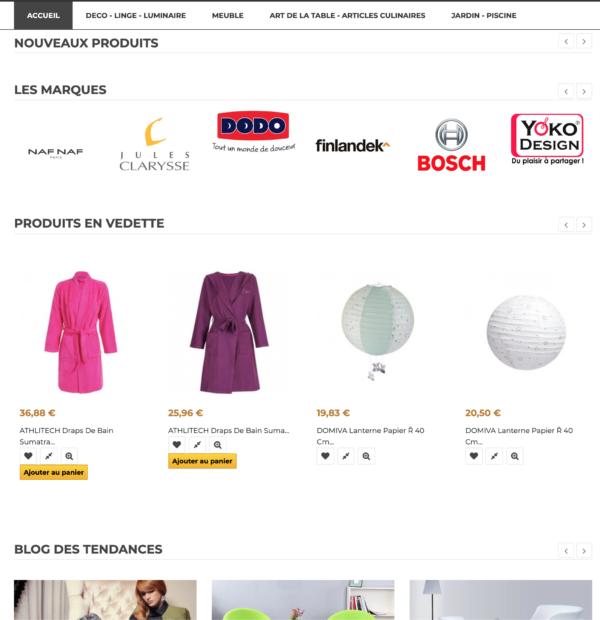 page catégorie Site dropshipping de décoration madecotendance