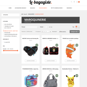 page catégorie e-commerce dropshipping maroquinerie et bagagerie
