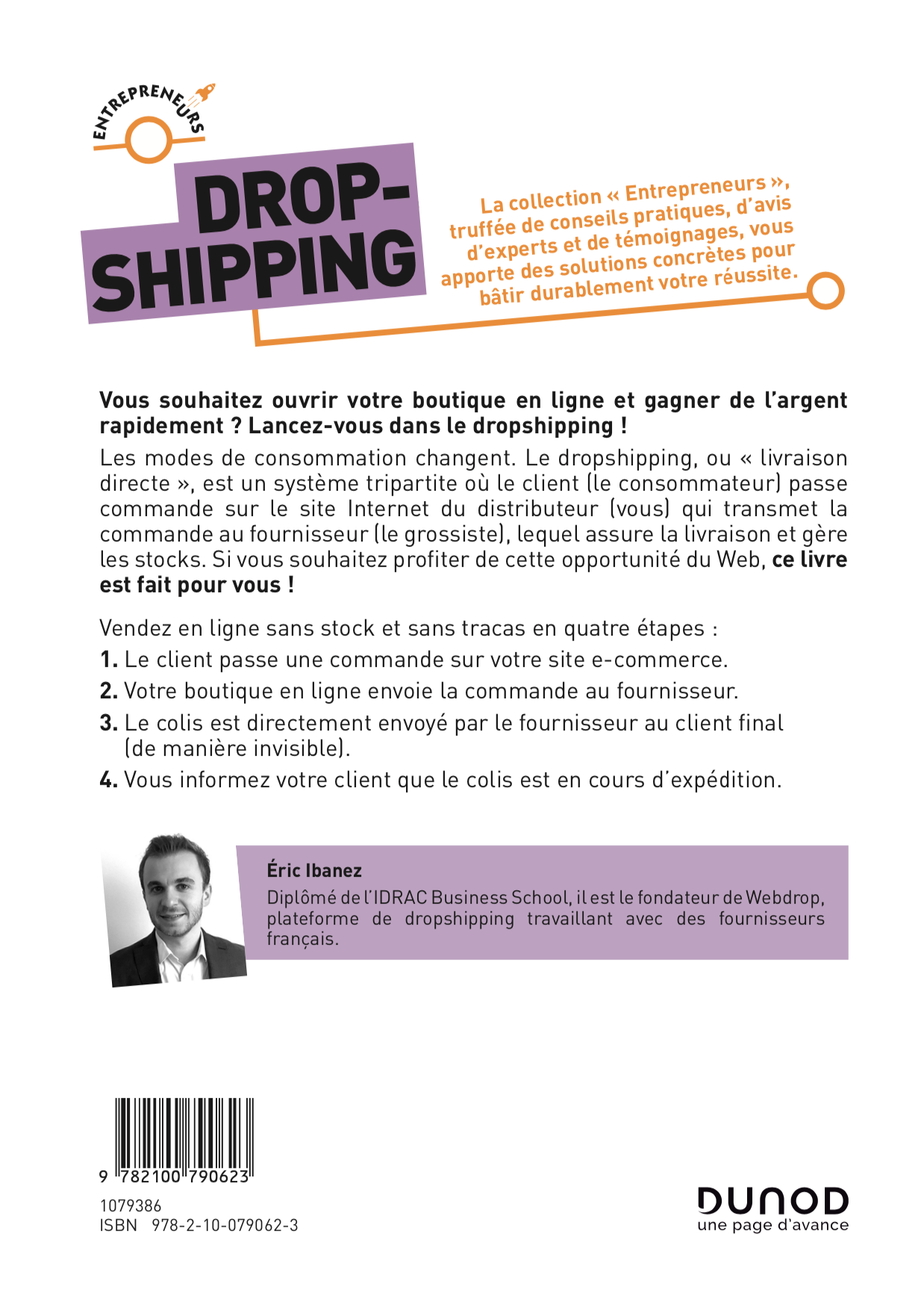 Verso Livre dropshipping e-commerce dunod eric Ibanez