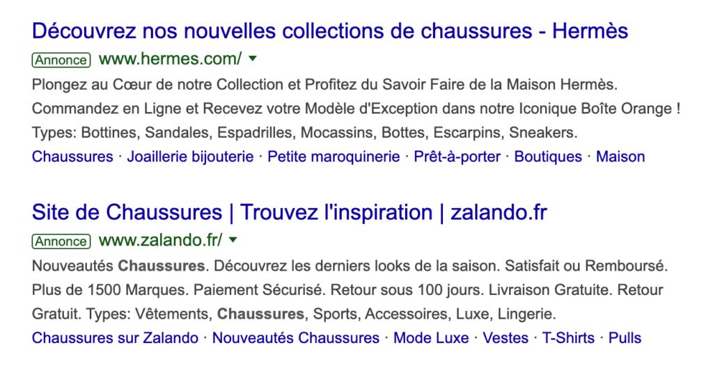 """Résultat liens annonces sea pour le mot clé """"chaussure"""" sur Google"""
