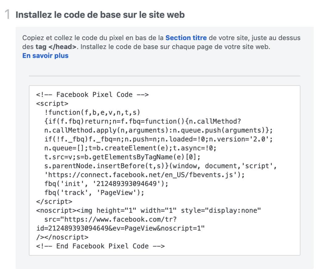 code javascript pixel facebook