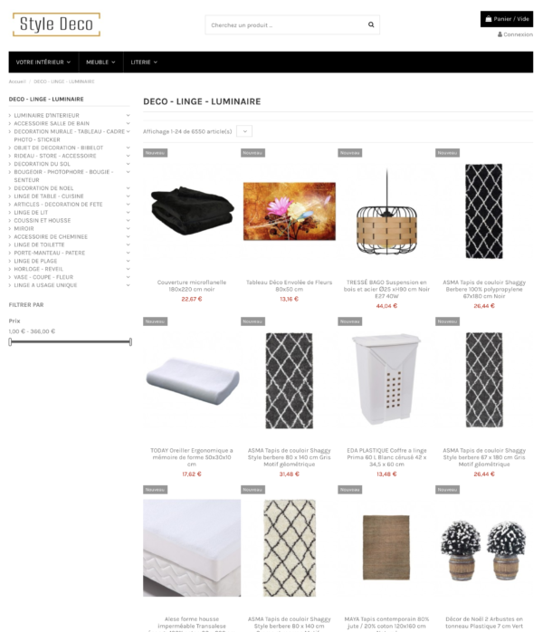 Page catégorie Site dropshipping de décoration