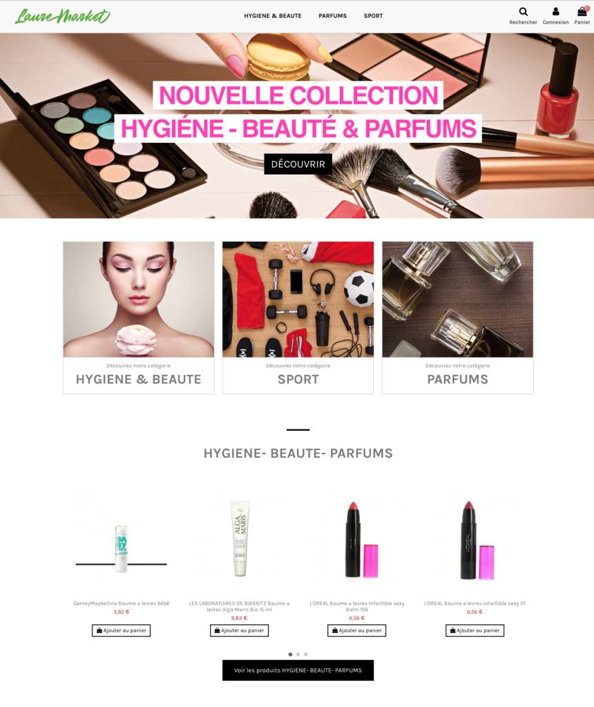 Site dropshipping cosmétique, parfum, visage, corps