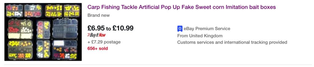 Recherche de produits gagnants sur Ebay angleterre avec le mot clé peche