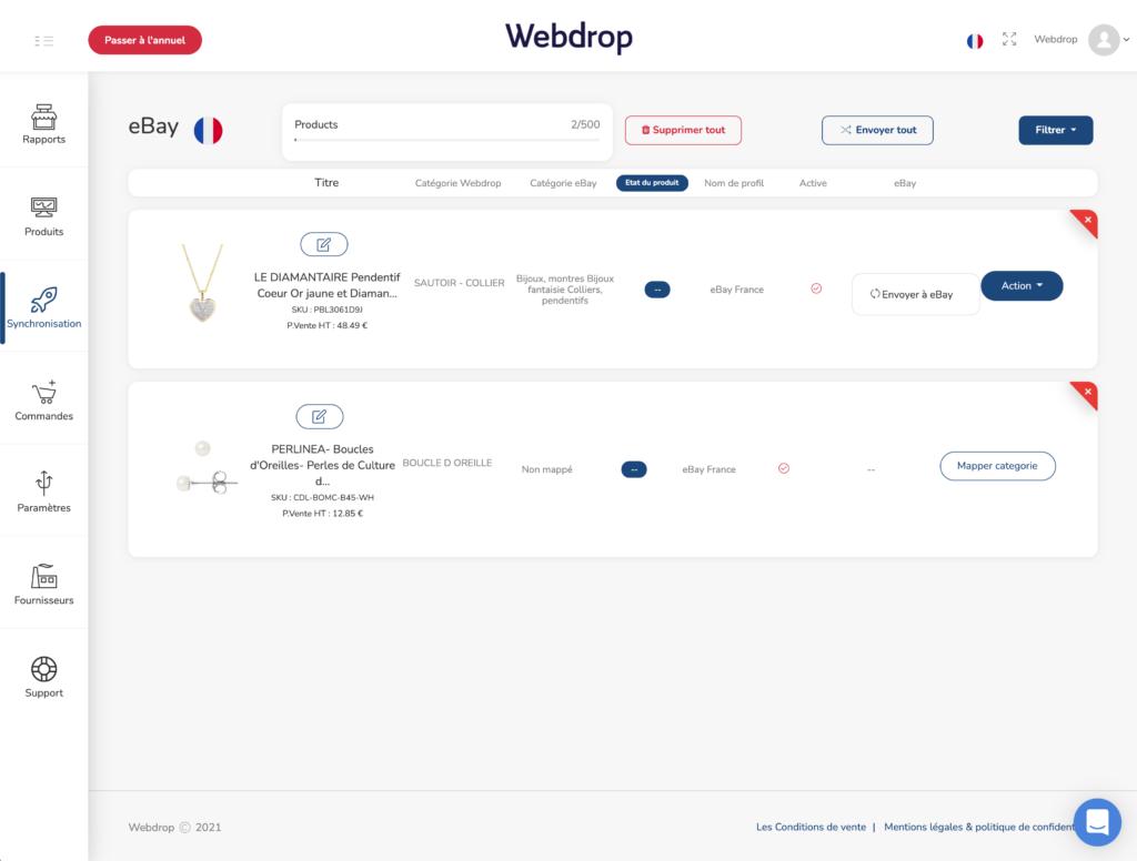 configuration ebay produits dropshipping